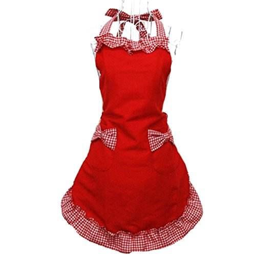 Hyzrz Cute Red Cotton Flirty Womens Aprons Fashion for Girls Vintage Cooking Retro Apron with Pockets Special 3
