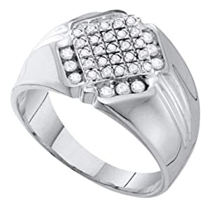 Pricegems 10K White Gold Mens Round Brilliant Diamond Cluster Set Wedding Ring (1/2 cttw, H-I Color, I1/I2 Clarity, Mens Sizes 8-13)