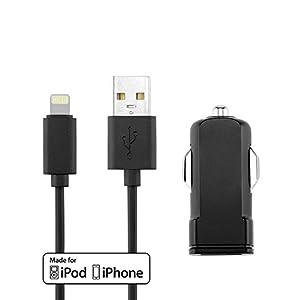 Autoladeset aus Lade- & Sync-Kabel (1 Meter) und Autoladegerät (1000 mA) für iPod und iPhone