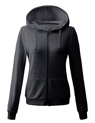 Regna X basic women's casual plain thermal knitted solid zip-up hoodie jacketLarge16321_dark Grey (Thermal Hoodie Womens compare prices)