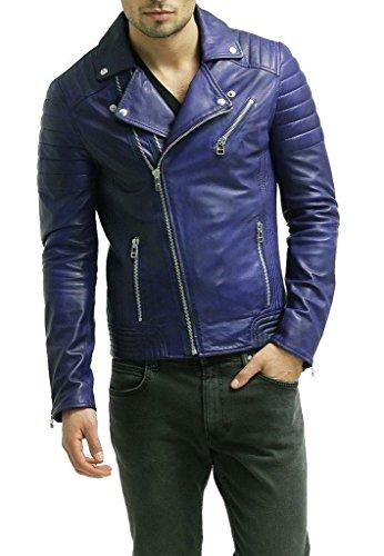 Iftekhar Men's Pure leather Jacket - Black - (Iftekhar11 - L)