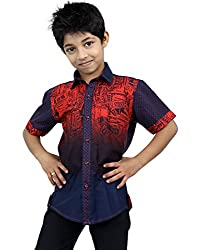 Zeal Boy's Dark Shaded Half Sleeves Cotton Printed Shirt