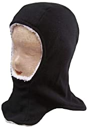 N\'Ice Caps Kids Unisex Sherpa Lined Micro Fleece Balaclava Crusader (7-10 Years, Black/White)label size Youth