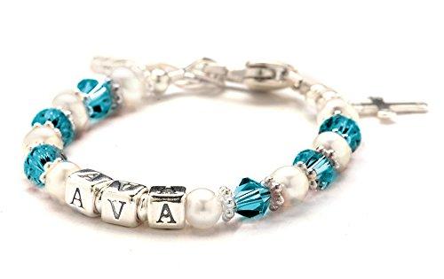 Children'S Crystal & Cultured Freshwater Pearl Name Bracelet - December Birth Month front-222280