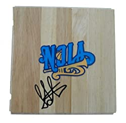 Peja Stojakovic Autographed New Orleans Hornets Logo Floorboard, Proof Photo