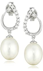 14k White Gold 7.5-8.0mm Cultured Freshwater Pearl with Diamond Drop Earrings (1/10cttw, H-I Color, I1-I2 Clarity)