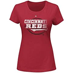 MLB Ladies Deep Crewneck Tee CUSTOM or Blank Back (5 Ladies Sizes, All 30 Major... by Majestic Authentic Sports Shop