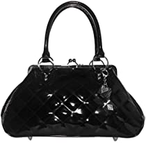 Lux De Ville Sin City Kiss Lock Bag Patent Vinyl Vegan Handbag Rockabilly Retro-Black