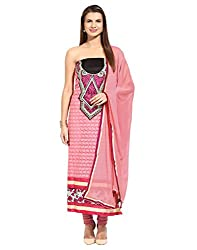 Lookslady Embroidered Pink Faux Georgette Semi Stitched Dress Material