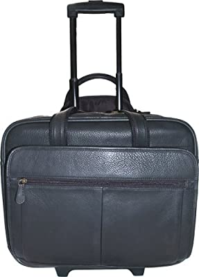 Hideonline Italian Leather Trolley Case / Wheeled Business Bag