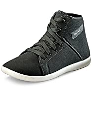 Corpus MenS Boxer Black Canvas Highankle Casual Shoes-7 Uk