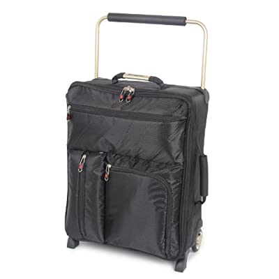 IT Luggage Worlds Lightest Black 55cm x 40cm x 20cm Cabin Size Laptop Trolley Suitcase