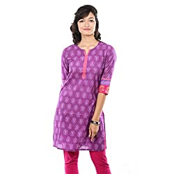 Saamarth Impex Block Printed Cotton Purple Color Reversible Style Kurties SI-2066