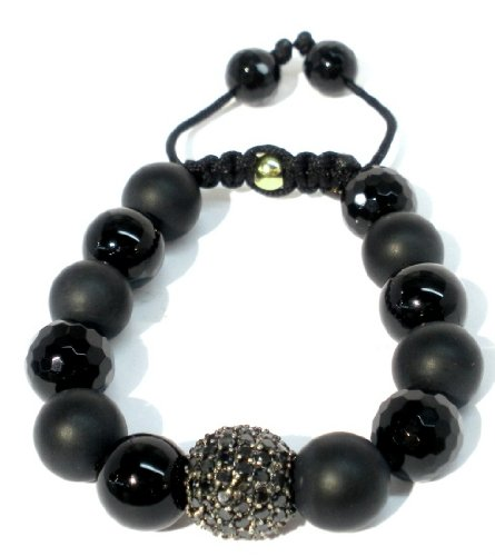 Shamballa Bracelet 14mm Black CZ Pave with 12mm Black Onyx Combination Matte Onyx Faceted Onyx Smooth Onyx with Macrame Lock Adjustable Handame Unisex Bracelet