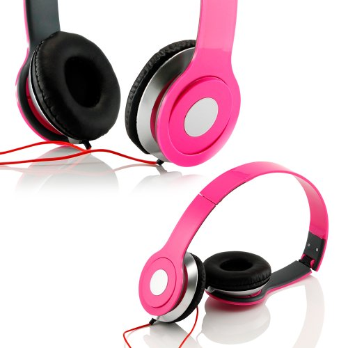 Gearonic Tm Adjustable Circumaural Over Ear Stereo Stero Earphone Headphone For Pc Mp3 Mp4 Ipod Iphone Ipad Tablet - Hot Pink