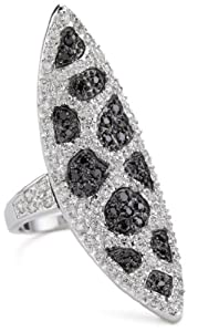 """CZ by Kenneth Jay Lane """"Trend Cubic Zirconia"""" Rhodium-Plated Spear Ring, Size 7"""