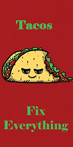 """""""Tacos Fix Everything"""" Food Humor Cartoon - Plywood Wood Print Poster Wall Art front-664833"""