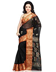 Utsav Fashion Women's Black Cotton Handloom Saree with Blouse