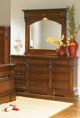 Cherry Wood Dresser With Mirror front-509784