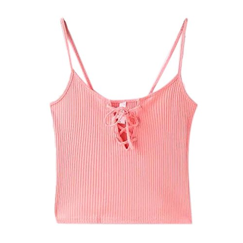 Kinghard Women Knitted Crop Tops Casual Cotton Cami Tank Tops (S, Pink)