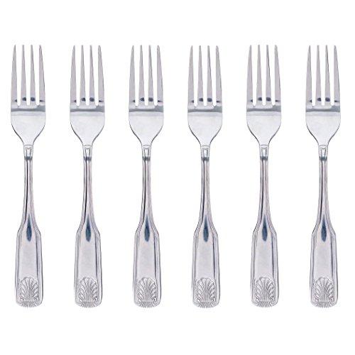 Dinner Fork 18/10 Stainless Steel Heavy Weight Sea Shell Design - Set of 6