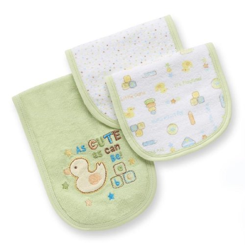 Gerber Neutral 3 pk Terry Burp Cloths - Playtime Theme - 1