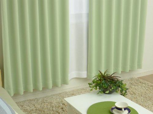 お得な厚地カーテンとレースカーテンのセット 1級遮光機能付き 「ベリーSET」 A4110-ベリー-グリーン 幅100x丈200cm 4枚組