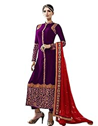 pakiza design new purple embroidered georgette partywear festival salwar suit dress material