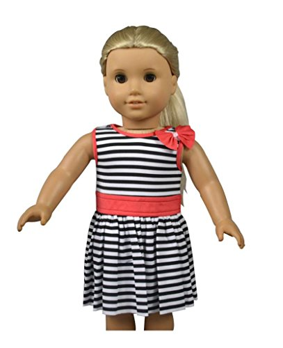 "Glamerup: Kasato - Simple & Elegant Striped Dress With Bow For Most 18"" Dolls"