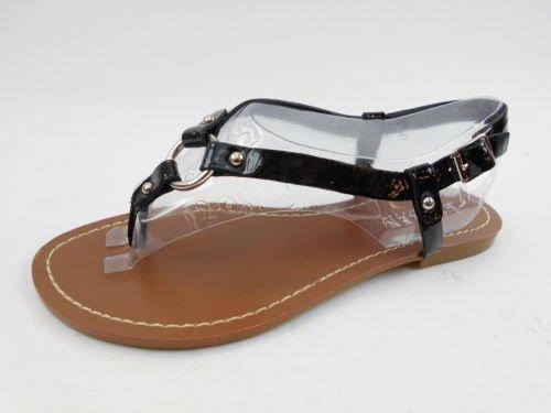 Lauren By Ralph Lauren Women'S Aurelia Flat Thong Sandals In Black Size 9.5 front-38760