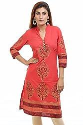 Aamii Women's Cotton Kurta(Aamii754_Rust_X-Large)