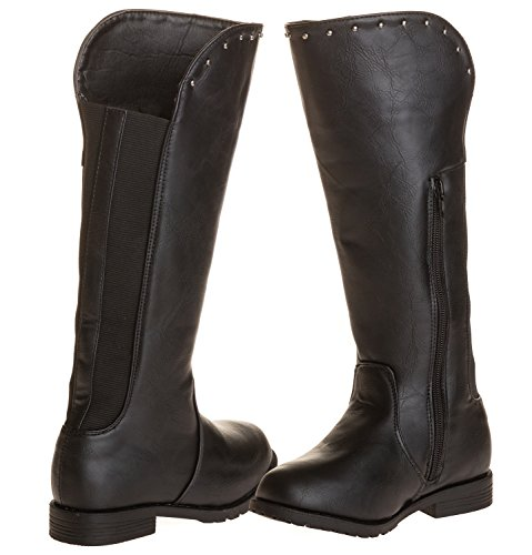 Sara Z Girls Studded Riding Boot With Elastic Back (Black/Silver), Size 4-5 Rugged Cut Off Short