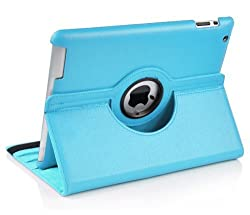 Leather 360 Degree Rotating Smart Stand Case Cover For New iPad 4 iPad 3 iPad 2-Light Blue