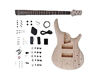 niceeshop(TM) Rock Style Solid Basswood Body Maple Neck DIY Semi-finished Electric Bass Guitar Kit (Burlywood Color) by niceeshop