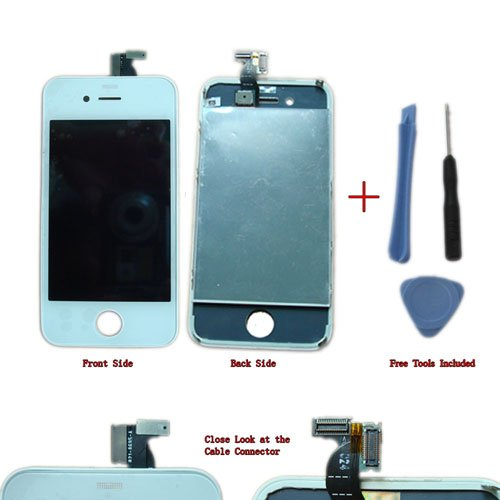 Apple iPhone 4 4g 4th gen Digitizer + LCD Assembly White, Plus Pry Tool+ Screwdriver. For Apple Iphone 4g Only