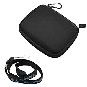 GTMax Black GPS 5.1-inch Eva Pouch Carrying Case + Neck Strap Lanyard for Garmin nuvi 1450LM, nulink 1695, nuvi 2300LM, nuvi 2450,2450LM, nuvi 2460LT,2460LMT, nuvi 2350,2350LT,2350LMT ; RoadMate 5045T-EU, RoadMate 5145T-LM, RoadMate 5175T-LM