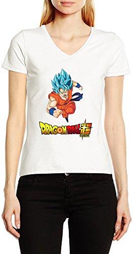 Dragon-Ball-Super-Goku-V-Cuello-Camiseta-Para-Mujer-Blanco-Todos-Los-Tamaos-Womens-V-Neck-T-Shirt-White