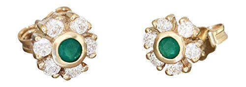 Hobra GOLD SMALL FLOWER STUD EARRING 585 GOLD WITH ZIRCONIA EARRINGS AGATE GOLDOHRSTECKER