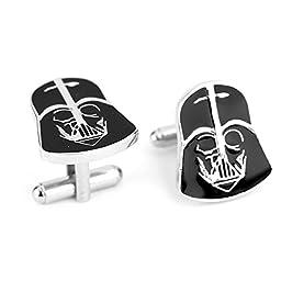 A Pair Darth Vader Helmet Metal Cuff Links Silver & Black SciFi Comics Star Wars Fans Collection Man Wedding Gift