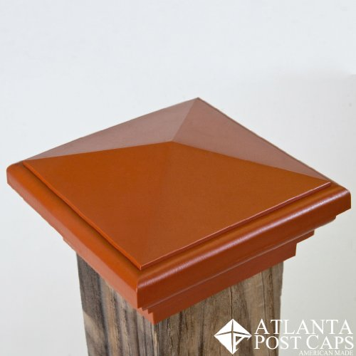 4x4 (Nominal) Cedar Color Pyramid Post Cap - with 10 Year Warranty - Free Shipping