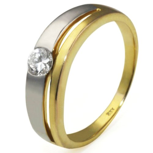 Goldmaid Damen-Ring 333 GelbgoldBicolor Zirkonia 4 mm Gr. 58 Zi R578GW58