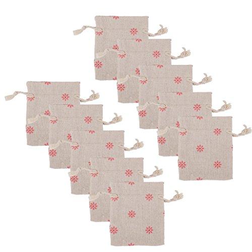 Lot de 10pcs Pochette à Bijoux Petit Sac Cadeau à Cordon Coulissant en Lin Motif de Fleur