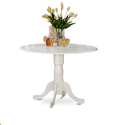 East West Furniture DLT-WHI-T Dublin Round Table With Two 9