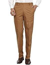 El'monde Men's Lycra Cotton Linen Full Waist Trouser - B01ETG2Z8U