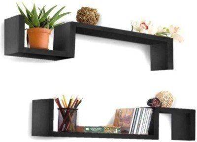 Onlineshoppee Wooden S Shape Rack Shelf pack of 2 Wooden Wall Shelf