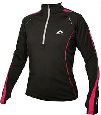 WOMANS Black with pink trim More Mile Long Sleeved Hi-Viz running top