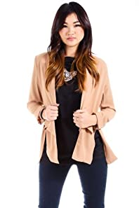 Love Riche Sheer Padded Blazer Wrap in Beige