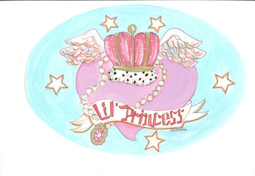 The Kids Room by Stupell Lil Princess with Hearts and Crown Oval Wall Plaque