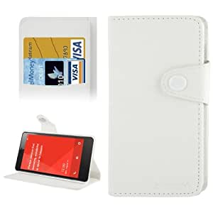 E-TECH Discoloring Texture Leather Case with Credit Card Slots & Holder for Xiaomi Redmi Note (White)
