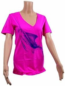 Calcutta Women's Short Sleeve V-Neck T-Shirt with Marlin Wrap Design, Hot Pink, Medium